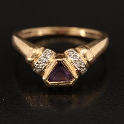 14K Amethyst and Diamond Chevron Ring