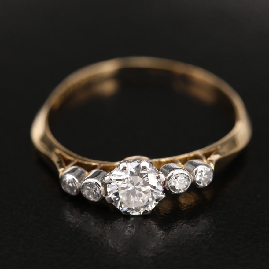 Vintage 18K Diamond Five Stone Ring with Platinum Accents