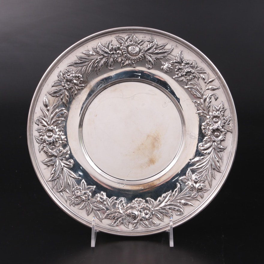 """S. Kirk & Son """"Repoussé"""" Sterling Silver Sandwich Plate, Early-Mid 20th Century"""