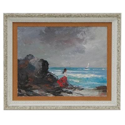 Zaza Meuli Impasto Seascape Oil Painting, Mid-20th Century