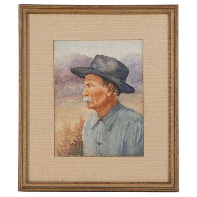 J. Frank Hubbard Watercolor Painting of Older Gentleman, Early 20th Century