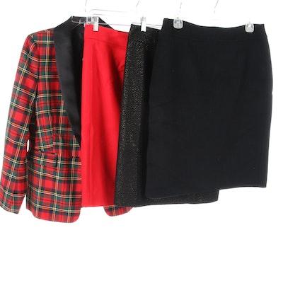 J. Crew Plaid Blazer and Skirt with Talbots Pencil Skirts
