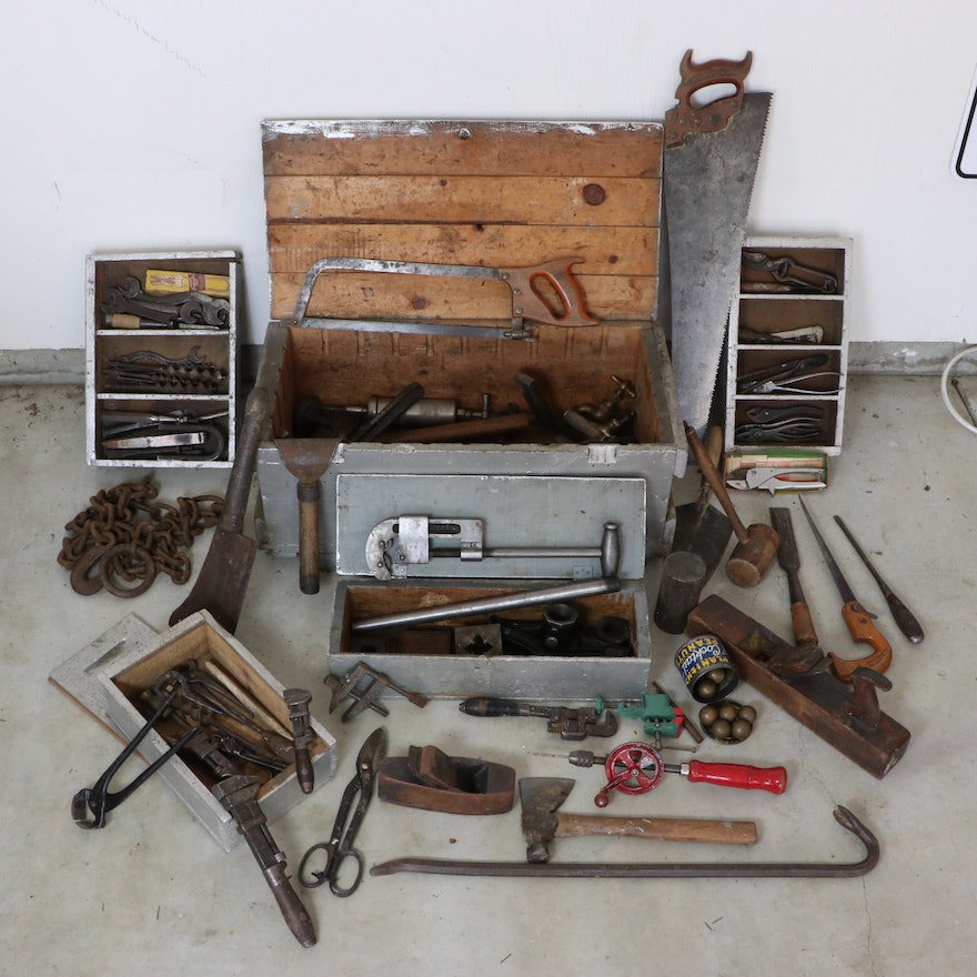 Painted Pine Tool Chest with Assorted Hand Tools