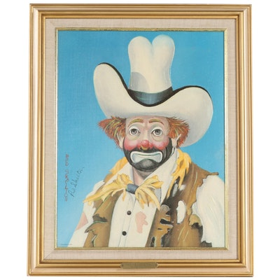 """Red Skelton Embellished Offset Lithograph """"The New Stetson"""""""