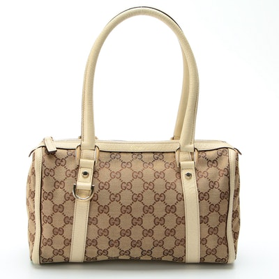 Gucci Abbey Boston Bag in GG Canvas with Leather Trim