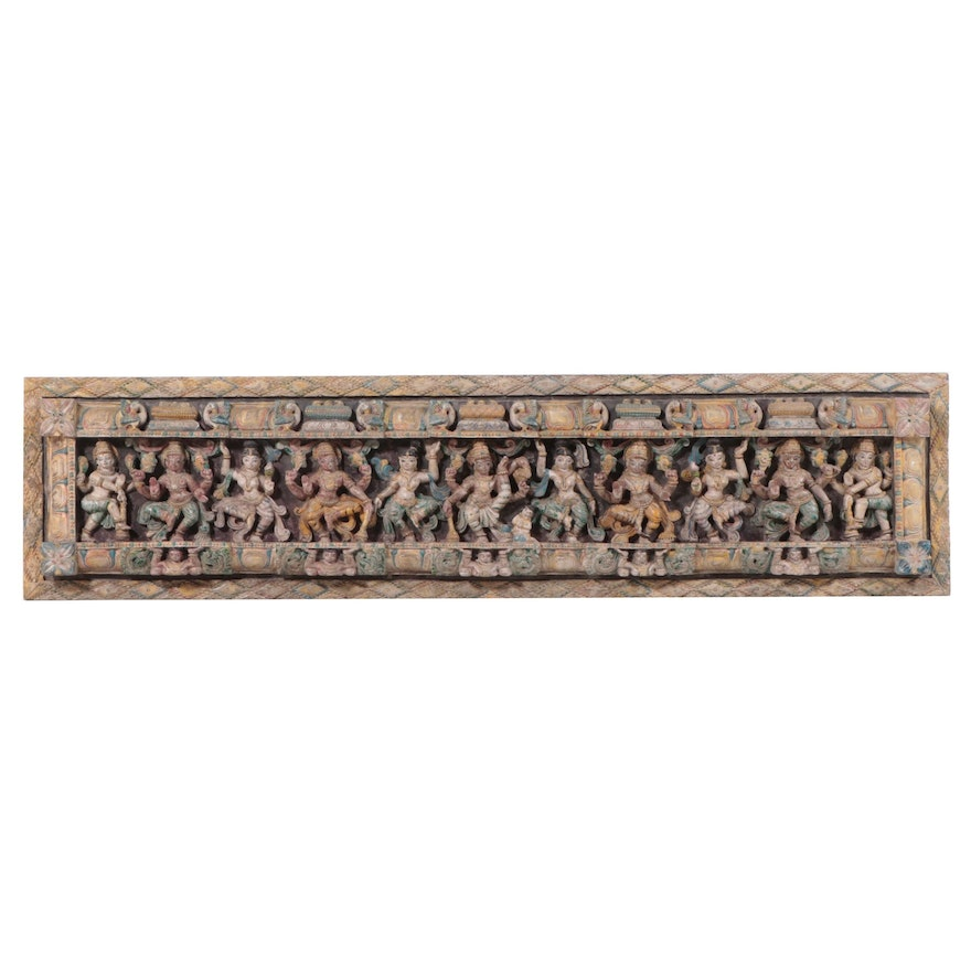 Southeast Asian Polychrome Architectural Panel with Hindu Deities