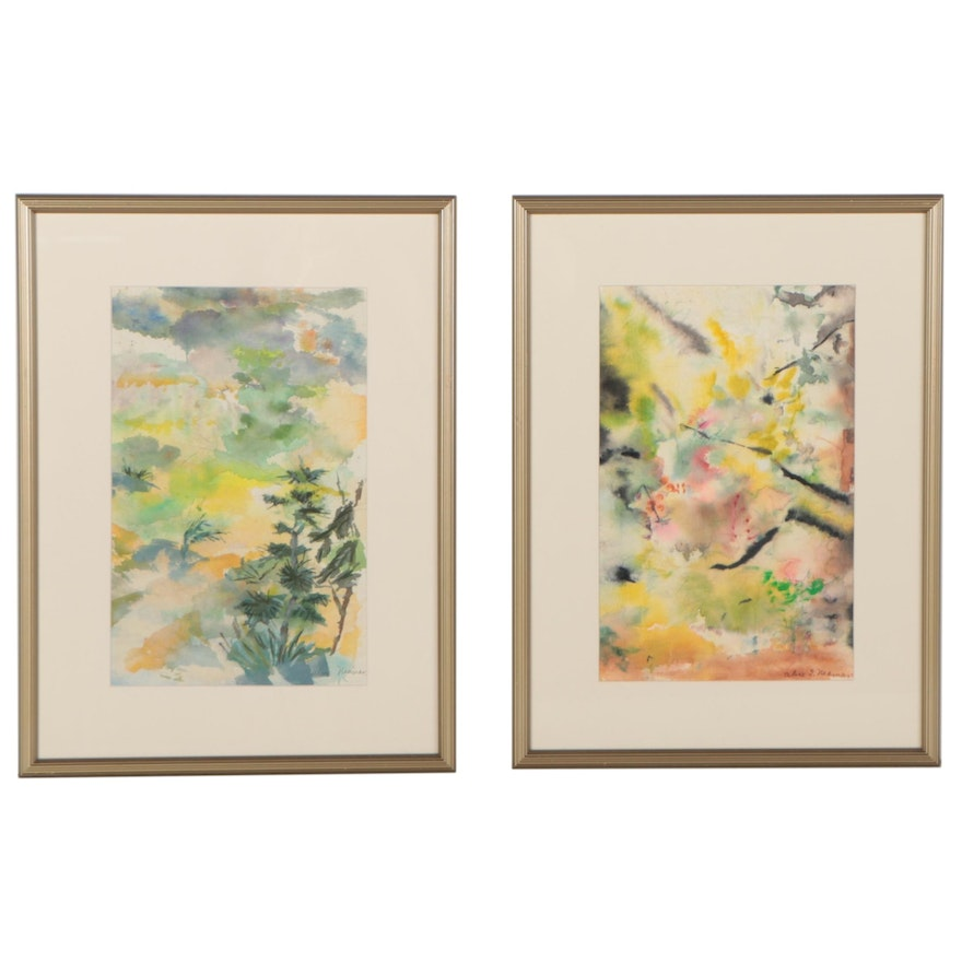 Alice Neaman Abstract Watercolor Paintings, Mid to Late 20th Century