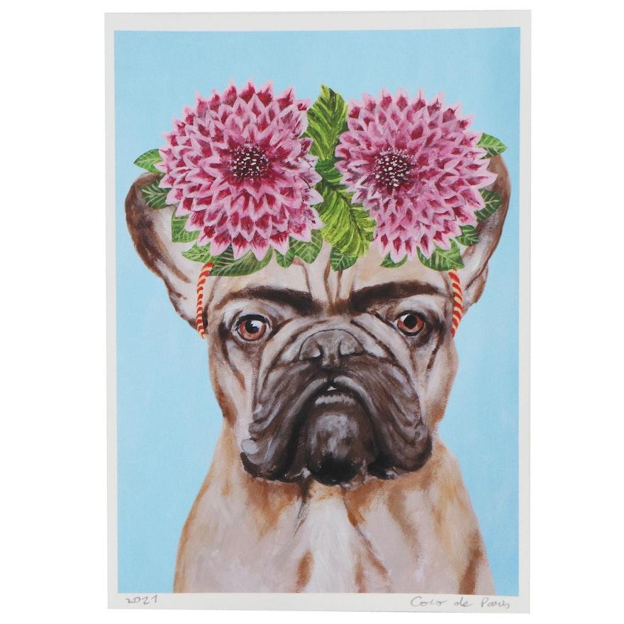 """Coco de Paris Giclée """"Frida Kahlo French Bulldog,"""" 2021"""