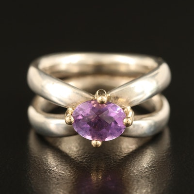 Pandora Sterling Amethyst Ring with Split Shoulders