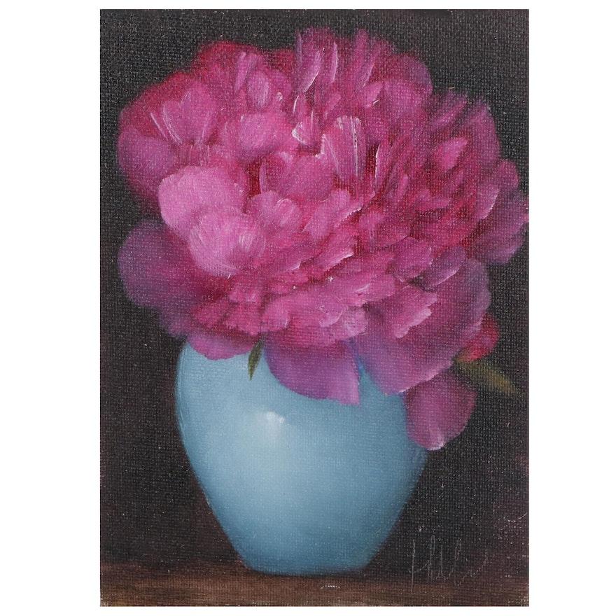 "Thu-Thuy Tran Oil Painting ""Peony - Fuchsia"""