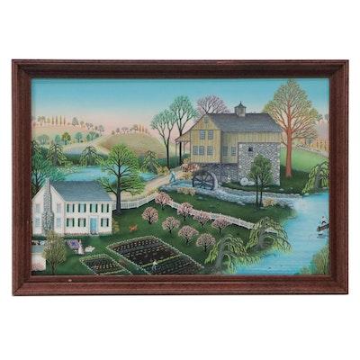 Kathy Jakobsen Folk Art Landscape Oil Painting, 1988