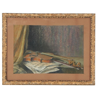 Still Life Pastel Drawing of a Violin, Early 20th Century