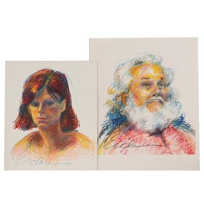 Charlotte Eicher Portrait Pastel Drawings, 1984