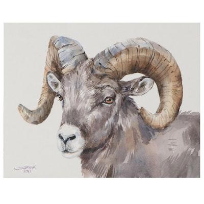 Ganna Melnychenko Watercolor Painting of Ram, 2021