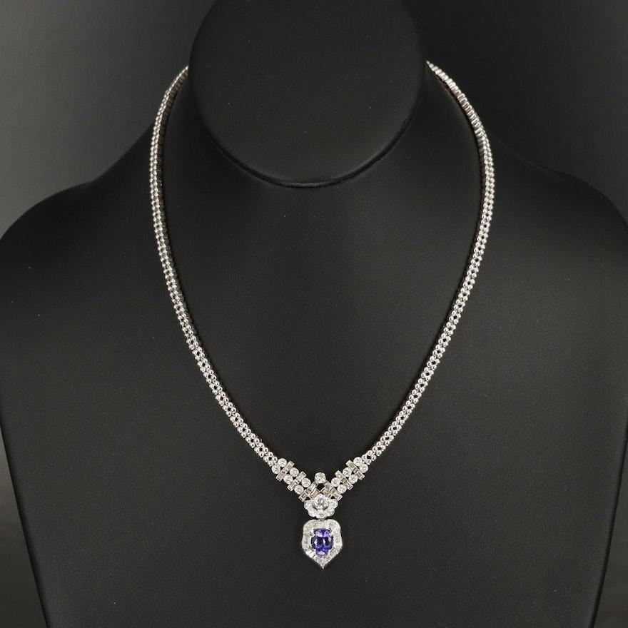 18K Tanzanite and 2.24 CTW Diamond Necklace