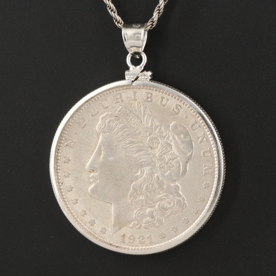 Sterling Necklace with 1921 Morgan Silver Dollar Coin