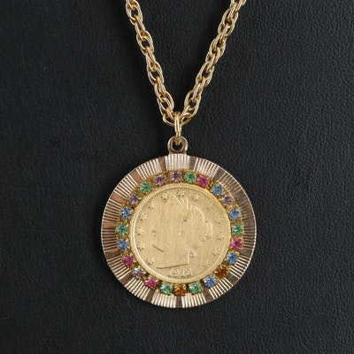 """Rope Chain Necklace with 1912 Liberty Head """"V"""" Nickel Rhinestone Pendant"""