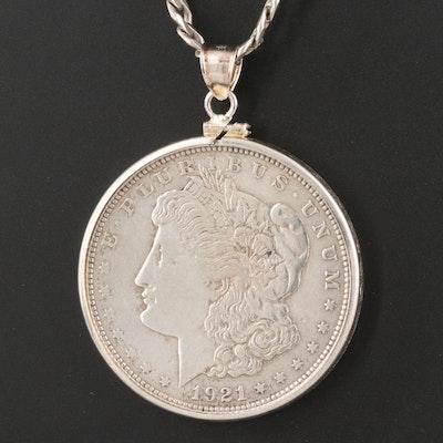 1921 Morgan Silver Dollar Coin Pendant Necklace
