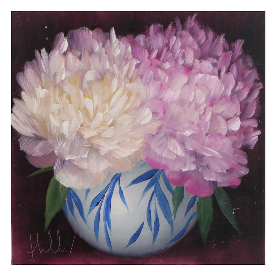"""Thu-Thuy Tran Oil Painting """"Summer Peonies,"""" 2021"""