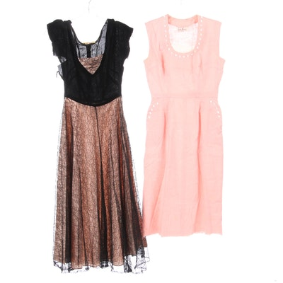 Patty Ann Velvet and Lace Dress and Adele Martin Linen Dress