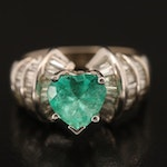 18K 2.67 CT Emerald Heart Ring with 1.15 CTW Diamond Channel Shoulders