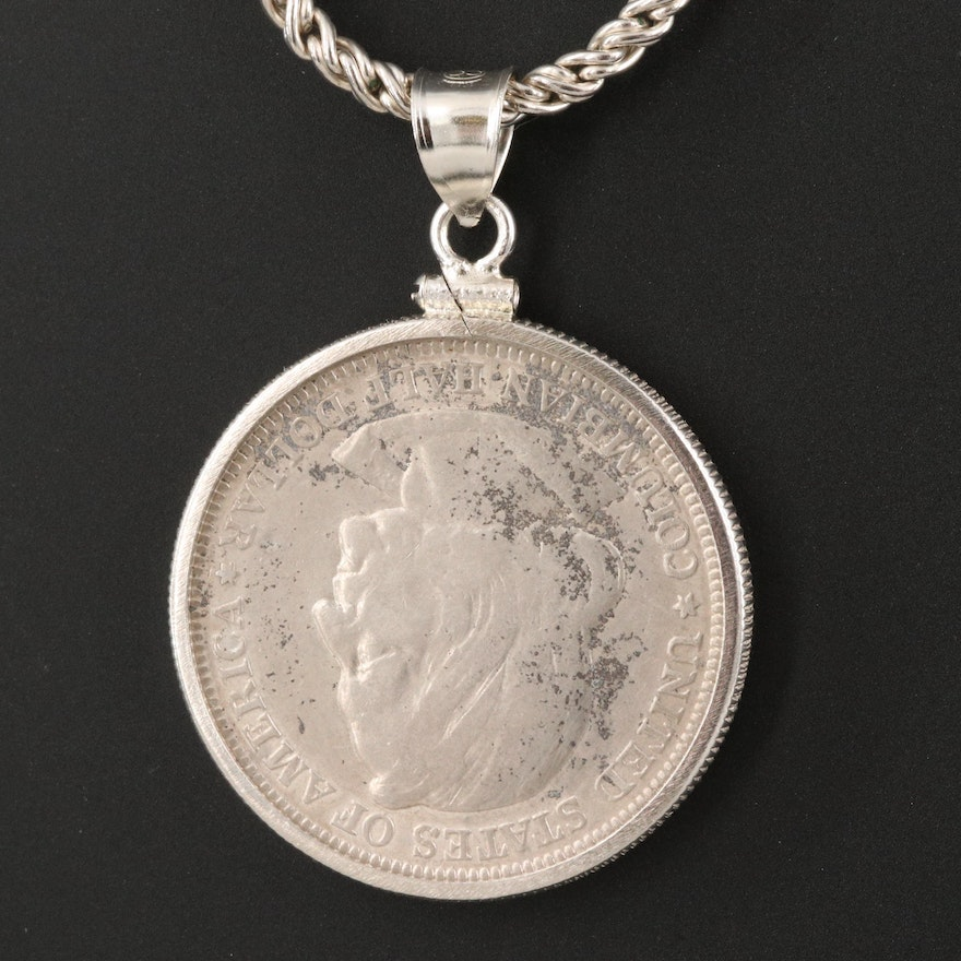 Sterling Necklace with 1893 Columbian Exposition Half Dollar Coin