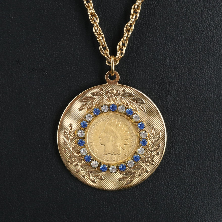 Necklace with 1905 Indian Head Cent Coin with Foliate Stampwork Frame