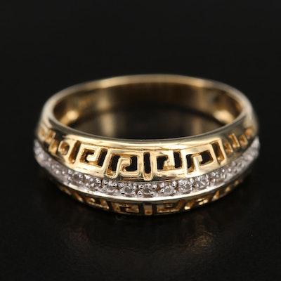 Sterling Zircon Ring with Greek Key Motif