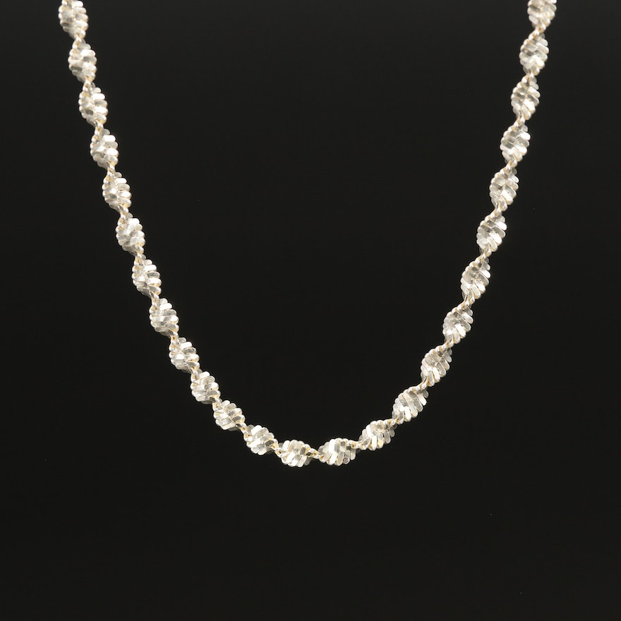 Sterling Twisted Herringbone Chain Necklace