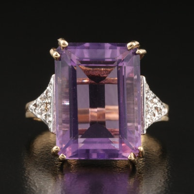 Vintage 14K Amethyst and Diamond Ring