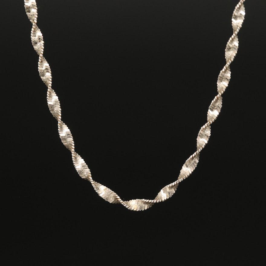 Italian Sterling Herringbone Chain Necklace