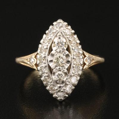 Vintage 14K Navette Diamond Ring