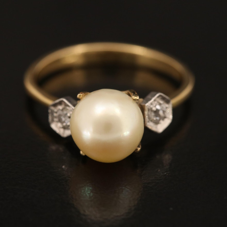18K Pearl and Diamond Three Stone Ring