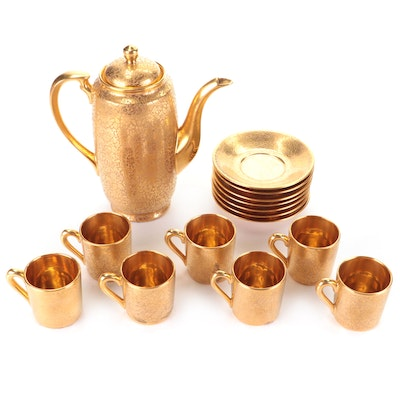 Stouffer and Wheeling Gold Encrusted Coffee Pot, Cups and Saucers