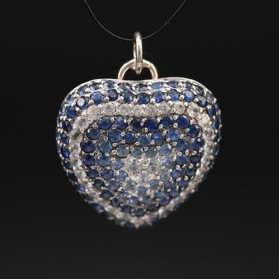 18K Pavé Sapphire Heart Pendant