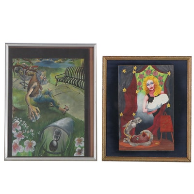 Figural Watercolor Paintings, Late 20th Century