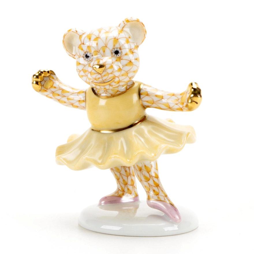 """Herend Butterscotch Fishnet """"Ballerina Bear"""" Porcelain Figurine"""