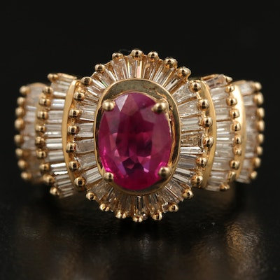 14K 1.35 CT Ruby and 1.25 CTW Diamond Tiered Ring