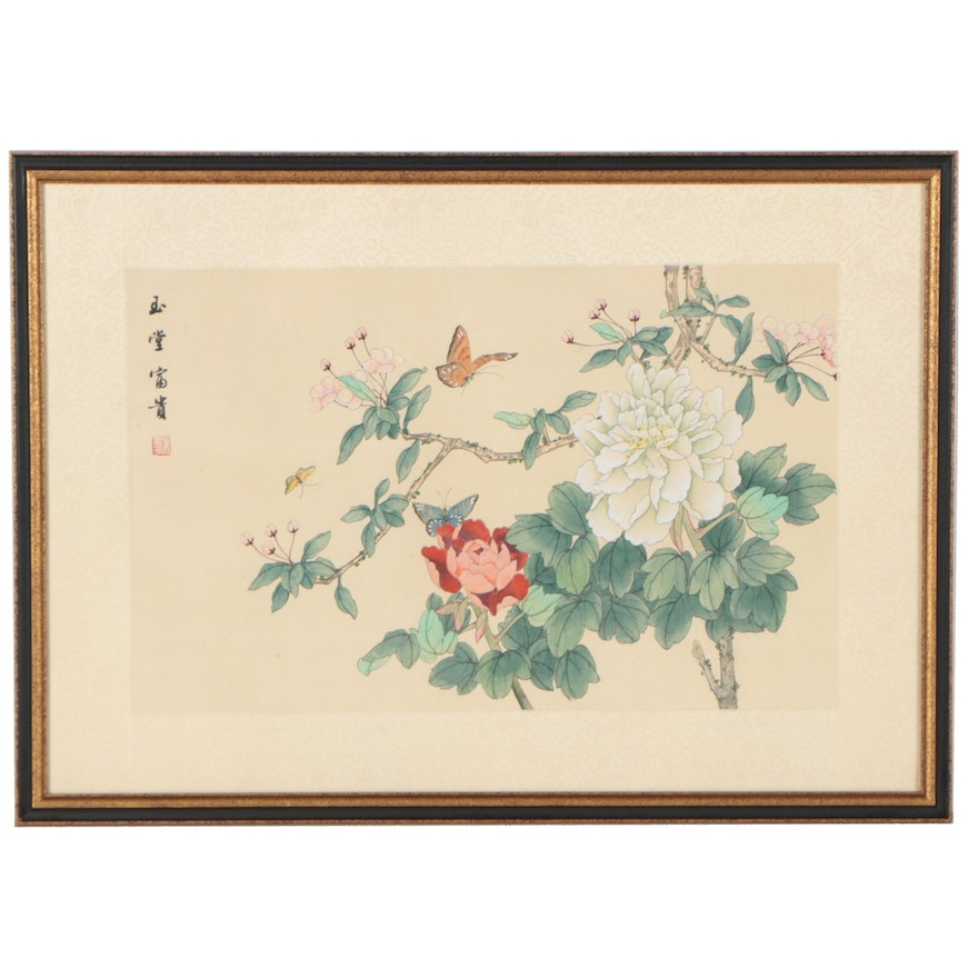 Chinese Gouache Painting of Blooming Flowers And Butterflies