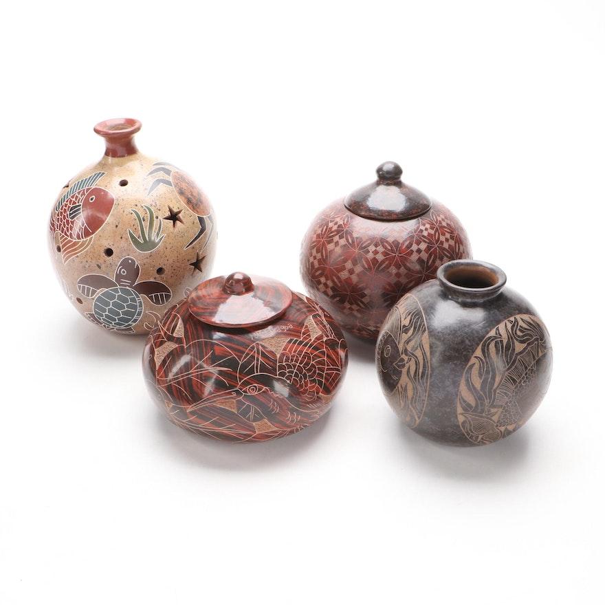 Nicaraguan Sgraffito Pottery Lidded Jars and Vase with Lantern