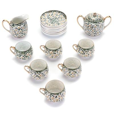 Japanese Kutani Porcelain Tea Cups with Cream and Sugar