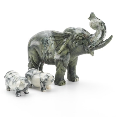 Chinese Carved Serpentine Elephant and Pig Figurines