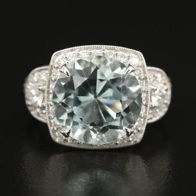 18K 6.32 CT Aquamarine and Diamond Ring with Milgrain Detail and GIA Report