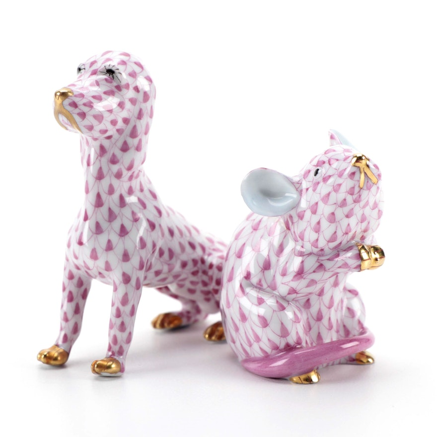 """Herend Raspberry Fishnet with Gold """"Mouse"""" and """"Dog"""" Porcelain Figurines"""