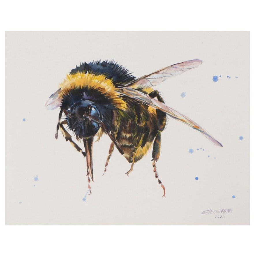 Ganna Melnychenko Watercolor Painting of Bee, 2021