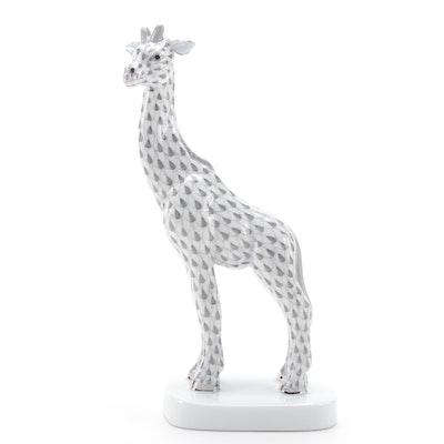 "Herend Grey Fishnet ""Giraffe"" Porcelain Figurine"