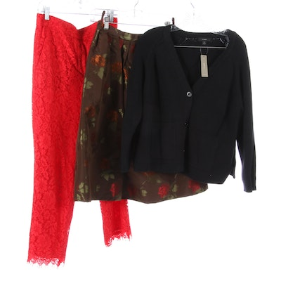 J.Crew Cardigan and Red Lace Pants, Luca Luca Floral Brocade Skirt