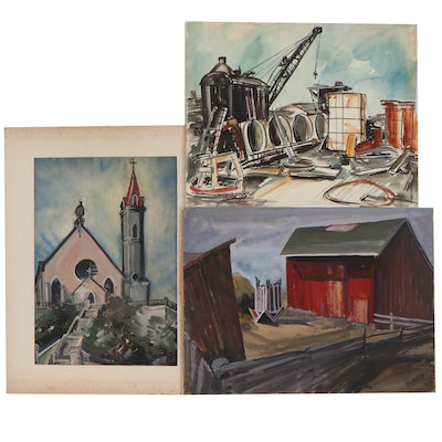 John Imhoff Gouache and Watercolor Paintings, Mid-20th Century