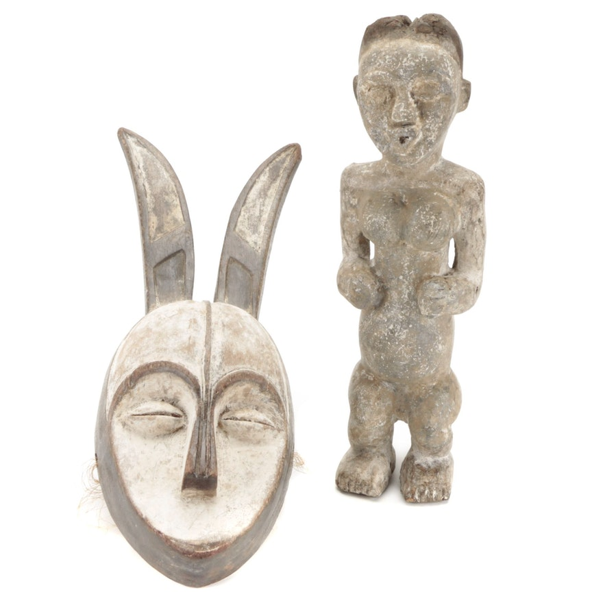 Vuvi Style Wooden Mask and Figure, Central Africa