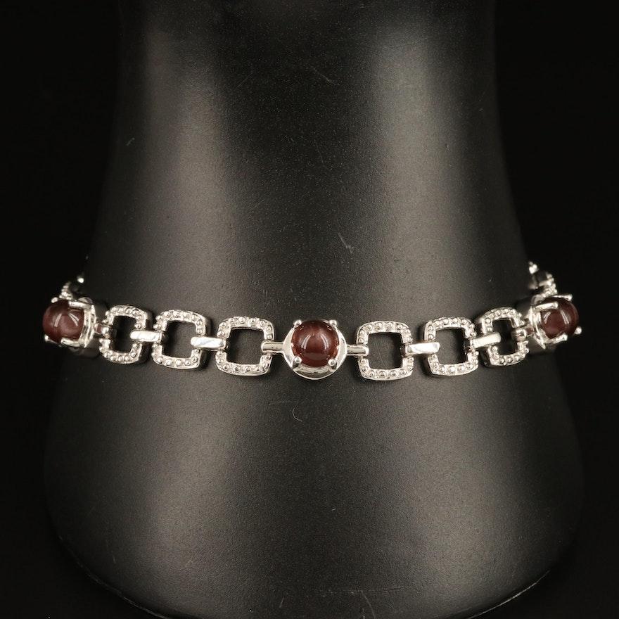Sterling Cat's Eye Scapolite Square Link Bracelet